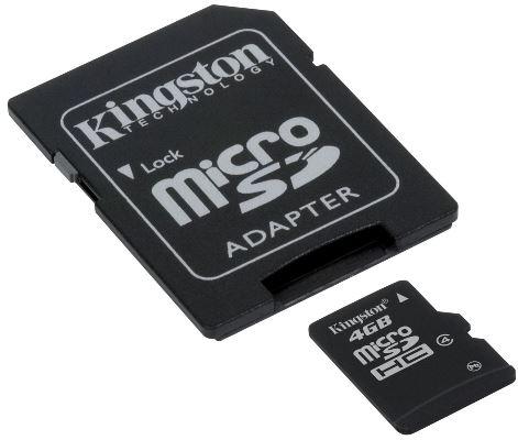 Micro SDHC KINGSTON CL4 4GB (vč. adaptéru)